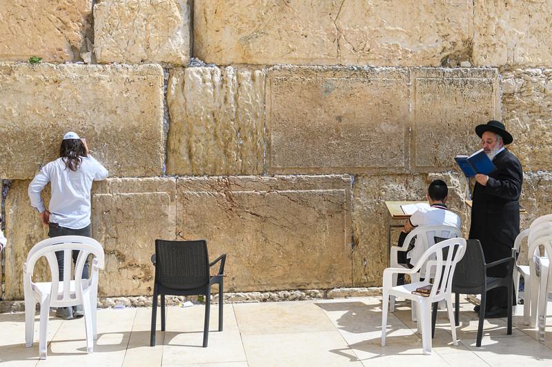Orthodox Jews in prayer at the Wailing Wall