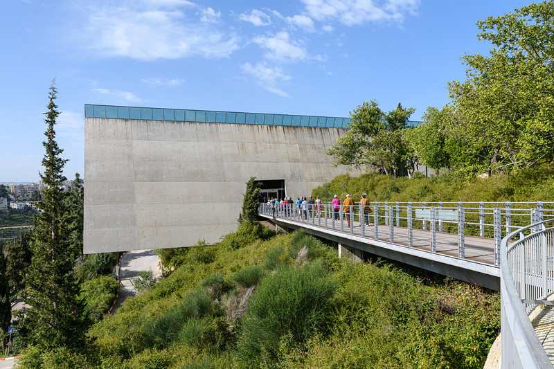 Approach to the museum across an exposed bridge.