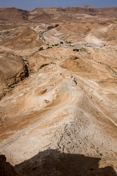 View from the Masada west gate at the somewhat eroded siege ramp built by the Romans in 72AD.