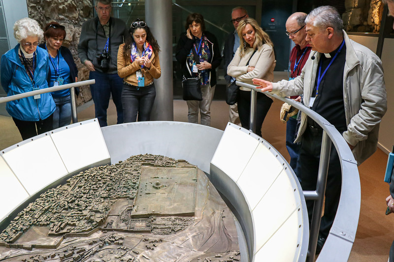 Our group looking at a model of ottoman period Jerusalem.  The park is located just below and to the left of the Temple Mount.