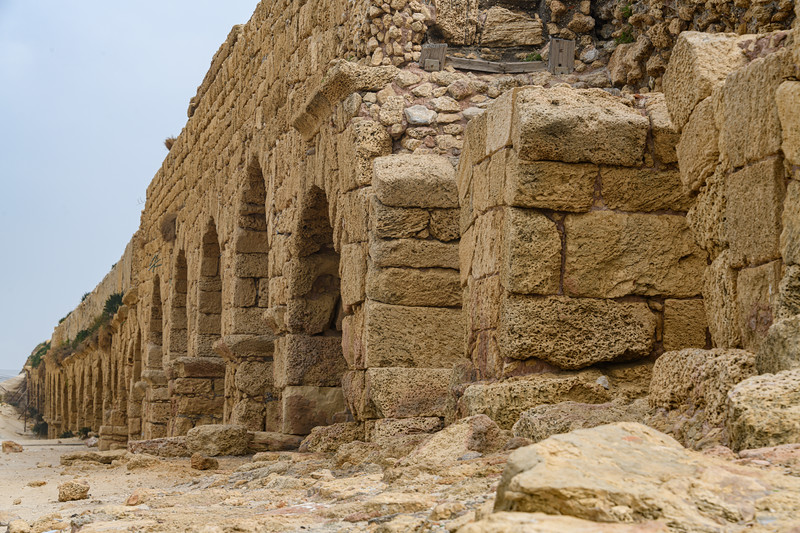 Double Aqueduct that once brought water from Mt Carmel springs to Caesarea.  The newer aqueduct Is closer to the Mediterranian.