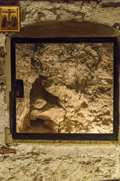 The rock of Calvary can be seen with a crack traditionally held to be caused by the earthquake that followed Jesus' death.
