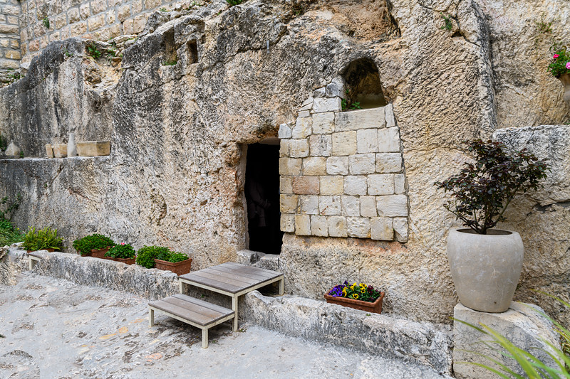 Stone blocks were added after an earthquake fractured the tomb wall between the doorway and the ventilation opening.