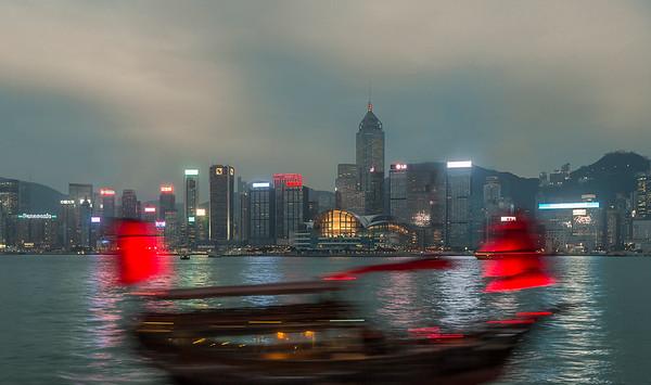 A Junk in the night.....Hong Kong