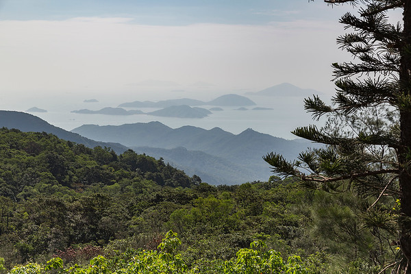 View atop the peak of the Tian Tan Buddha on Lantau Island