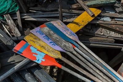 Colorful oars, Tai O fishing village
