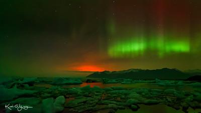 Aurora Borealis at Jokulsarlon Glacier Lagoon