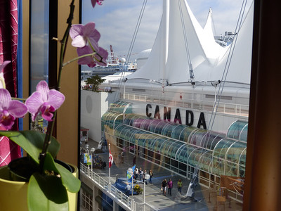 Looking out from Deck 9 on the Zuiderdam at Canada Place