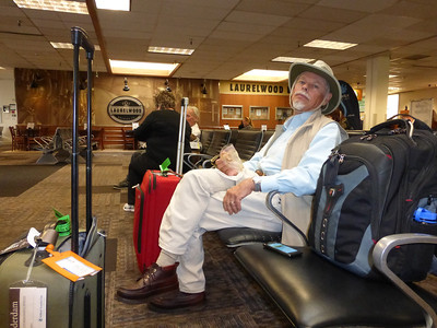 John in waiting room at Vancouver airport