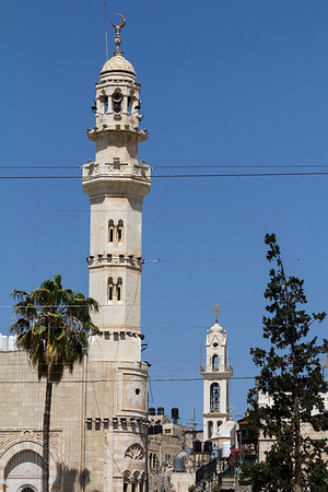 The Mosque of Omar is the only mosque in the Old City of Bethlehem, located on the west side of Manger Square, across the square from the Church of the Nativity.  The mosque is named after Omar (Umar) ibn al-Khattab (c. 581–644), the second Rashidun Muslim Caliph. Having conquered Jerusalem, Omar had travelled to Bethlehem in 637 CE to issue a law that would guarantee respect for the shrine and safety for Christians and clergy. Only four years after the death of the Islamic prophet Muhammad, Omar allegedly prayed at the location of the mosque. The current mosque was built in 1860, and was renovated in 1955, during Jordanian control of the city.