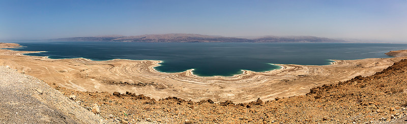 A panoramic of the sea.  As you can easily see, the level is at an all time low.  Part of the reason is due to climate conditions but there are many other reasons involved......farming along the Jordan River, regulation from the Degania Dam located at the southern tip of the Galilee Sea, the thousands of sink holes being created.  Researchers claim it will never dry up completely due to it's salt content.  There will be an equilibrium at some point.