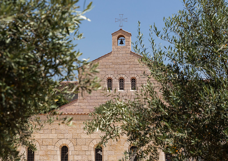 First stop, the village of Tabgha at the Church of Multiplication.  The modern church rests on the site of two earlier churches. It is traditionally accepted as the place of the miracle of the multiplication of the loaves and fishes (Mark 6:30-46) and the fourth resurrection appearance of Jesus (John 21:1-24) after his Crucifixion. Between the Late Muslim period and 1948, it was the site of a Palestinian Arab village.