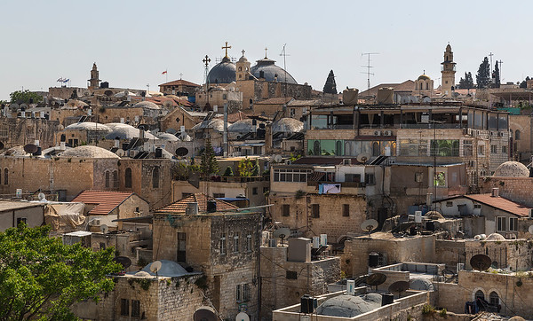 View from north ramparts with the Church of the Holy Sepulchre  on the horizon
