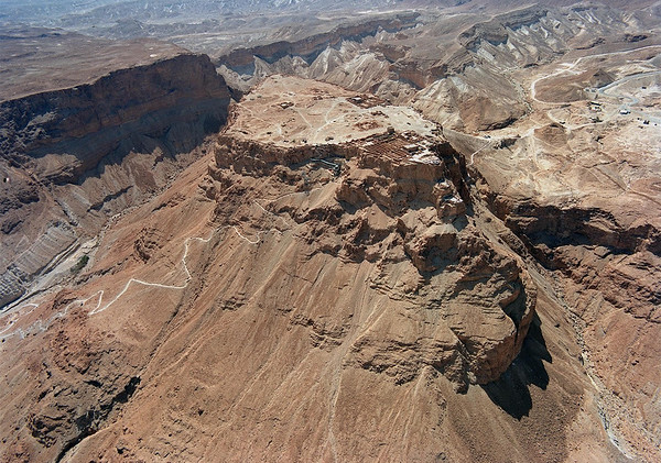 Aerial view of Masada fortress (obviously not taken by me).  Just wanted you to see the massive layout of the whole mountain