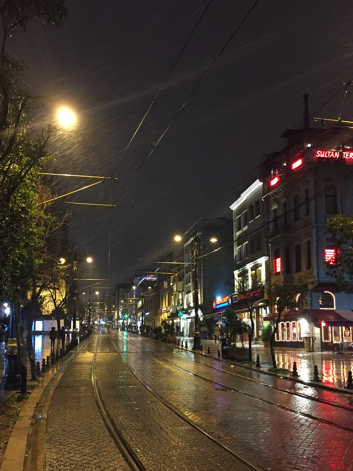 Snowy Istanbul street