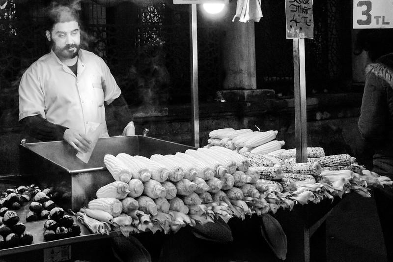 Corn on the cob street vendor.