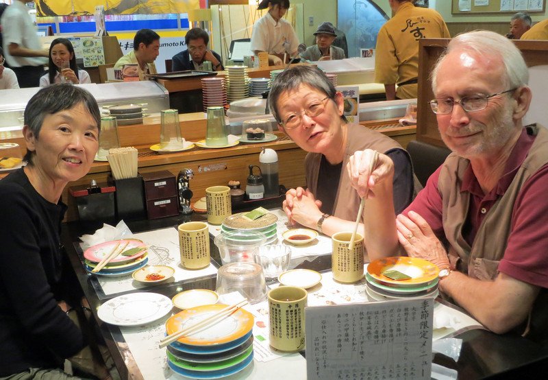 Karen, Janet and Emmert <br /> Sushi Circle Dinner at <br /> Via Inn Kanazawa