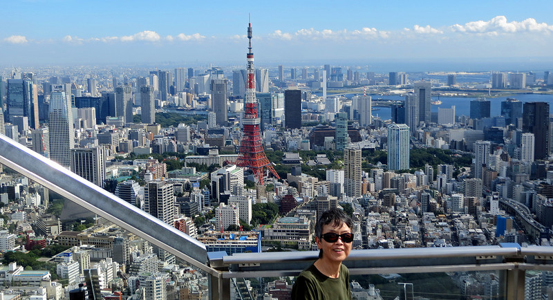 Roppongi  Hill - Observation Deck in Central Tokyo. The Tokyo Tower is in the background.
