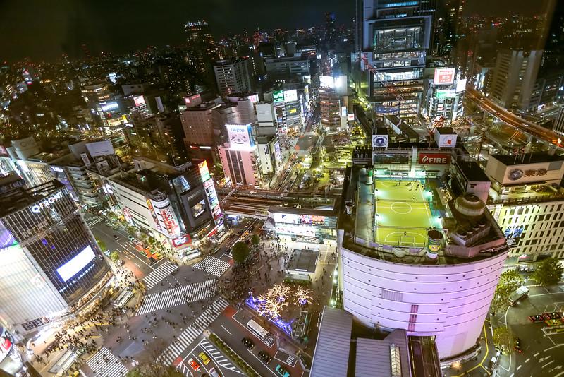A bird's eye view of Shinjuku busy town.