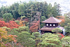 Japanese temple in autumn garden