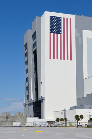 The flag and doors of the VAB. The flag is the size of a basketball court and a single star is six feet across.