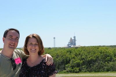 Us with space shuttle Endeavour in the background