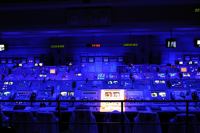The simulation of the control room during the Saturn V launch that took us to the moon.