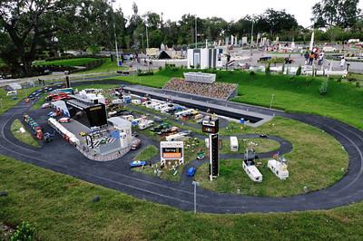 Daytona Internation Speedway with much of Legoland Miniland visible behind it