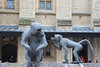 Monkeys made out of chain link fencing, at the Tower of London
