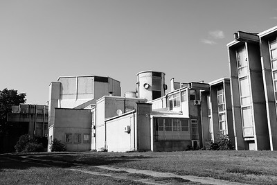Yugoslavian communist architecture in cliche black and white.