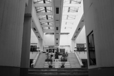 Yugoslavian communist architecture in cliche black and white.