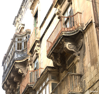 Balconies.    Valletta, Malta.    03/23/2019 This work is licensed under a Creative Commons Attribution- NonCommercial 4.0 International License