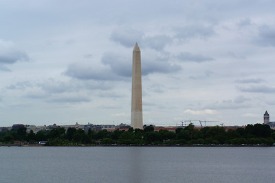 Looking across the tidal basin to the Washington Monument