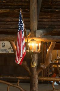 Flag inside the Old Faithful Inn. Yellowstone National Park