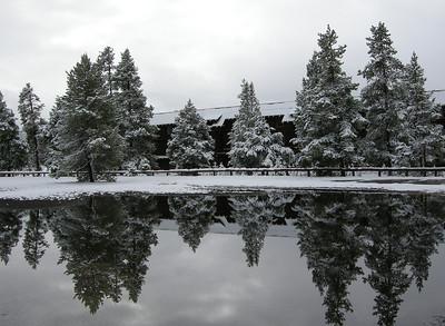 Reflection at the Old Faithful Inn, Yellowstone National Park