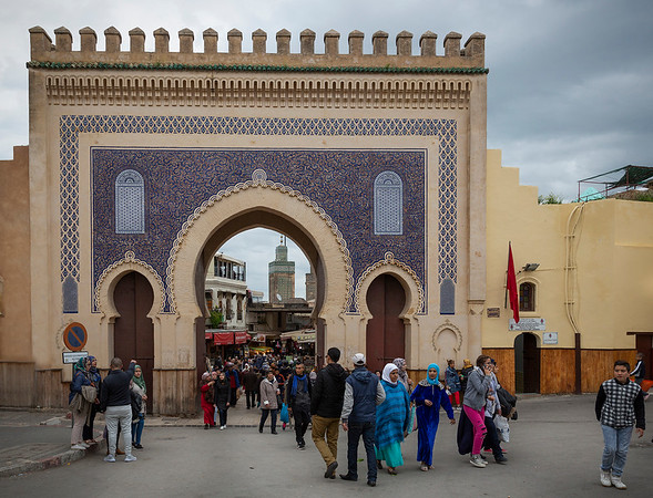 Bab Boujeloud (blue gate) - The most famous gate built in the 12th century, entering the medina (old town) of Fez el Bali