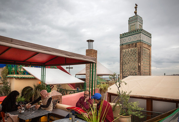 Atop a restaurant with view of the Mosque of Medersa Bou Inania