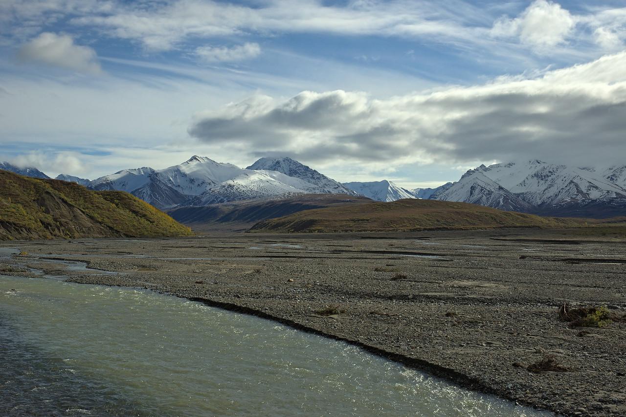 East Fork River Glacial Melt Alaska Range in the Distance
