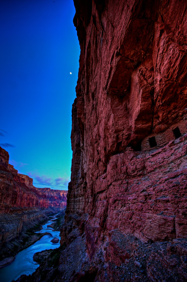 Moon over Nankoweap graneries<br /> Grand Canyon 2010