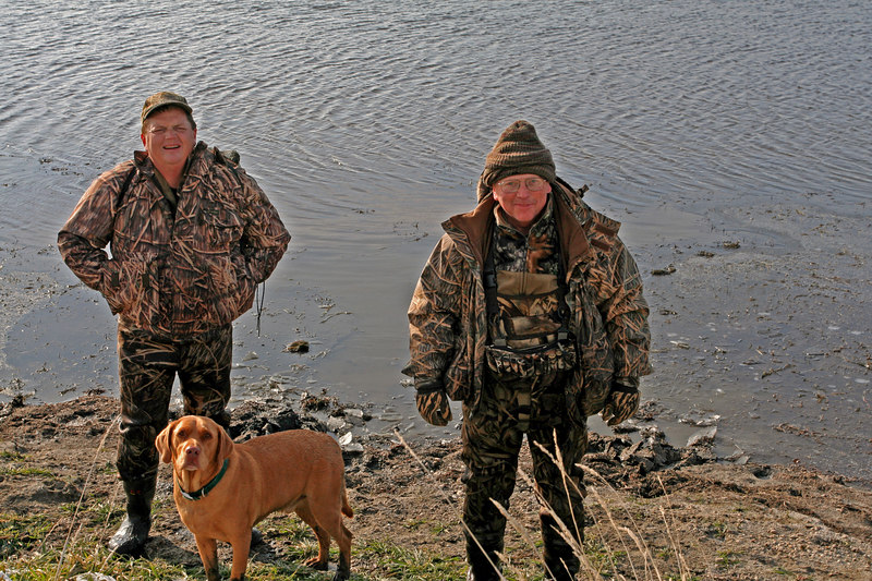 Rob (left), Murphy (middle) and Davie (Right) after a successful morning hunt