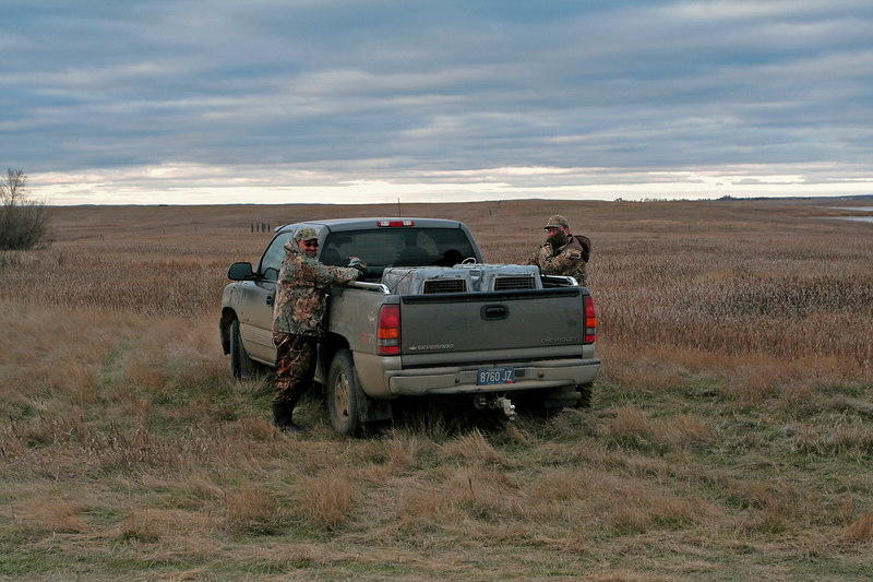 """Truck talk"" after the last hunt of the trip"