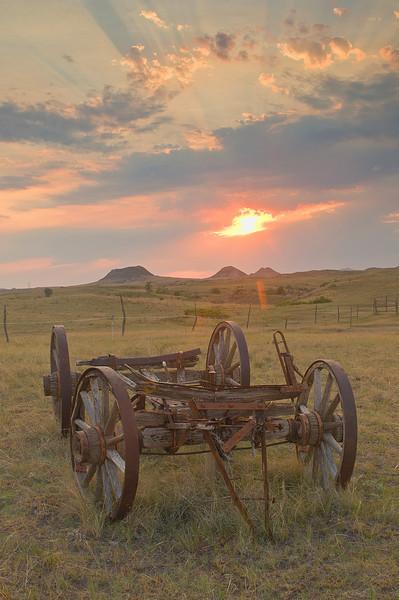 TRND-8056: Sunset on the prairie near Medora, ND