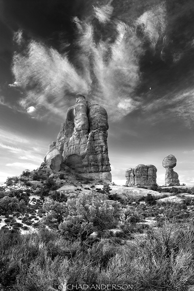 Black and White Balancing Rock