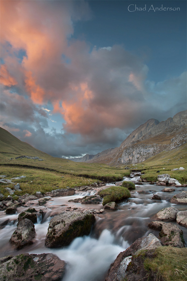 Mitucocha Stream at Sunset<br /> <br /> Cordillera Huayhuash Campsite day 1