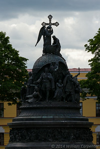 """Millenium of Russia"", a statue built in 1862 to commemorate the first thousand years of Russian history, all of which are traced in the over 100 figures on it. From this angle, Peter the Great is visible standing under the wings of his guardian angel."