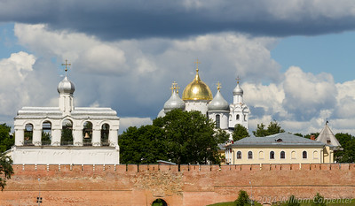 A first look into the Novgorod Kremlin from across the Volkhov river.