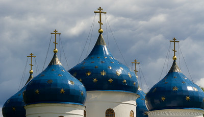 The five domes of one of the churches at the Yuriev Monastary.