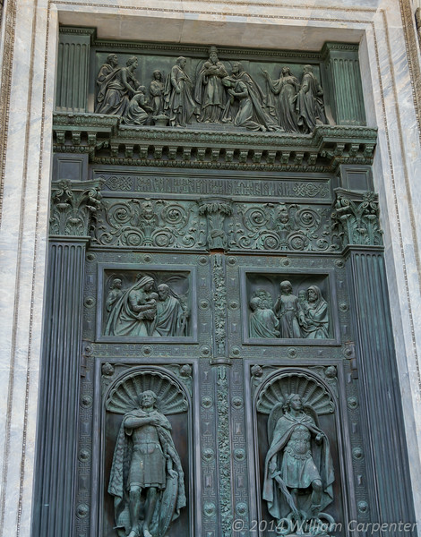 One of the cathedral's sets of gigantic wood and bronze doors.