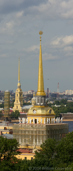 The Admiralty in the foreground (showing it's restoration work prior to being instated as the headquarters of the Russian Navy next year) and the spire of Peter and Paul Cathedral in the background.