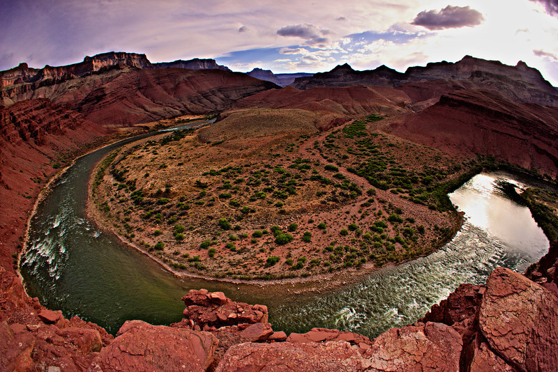 Unkar Rapids and Delta through a fisheye lens.